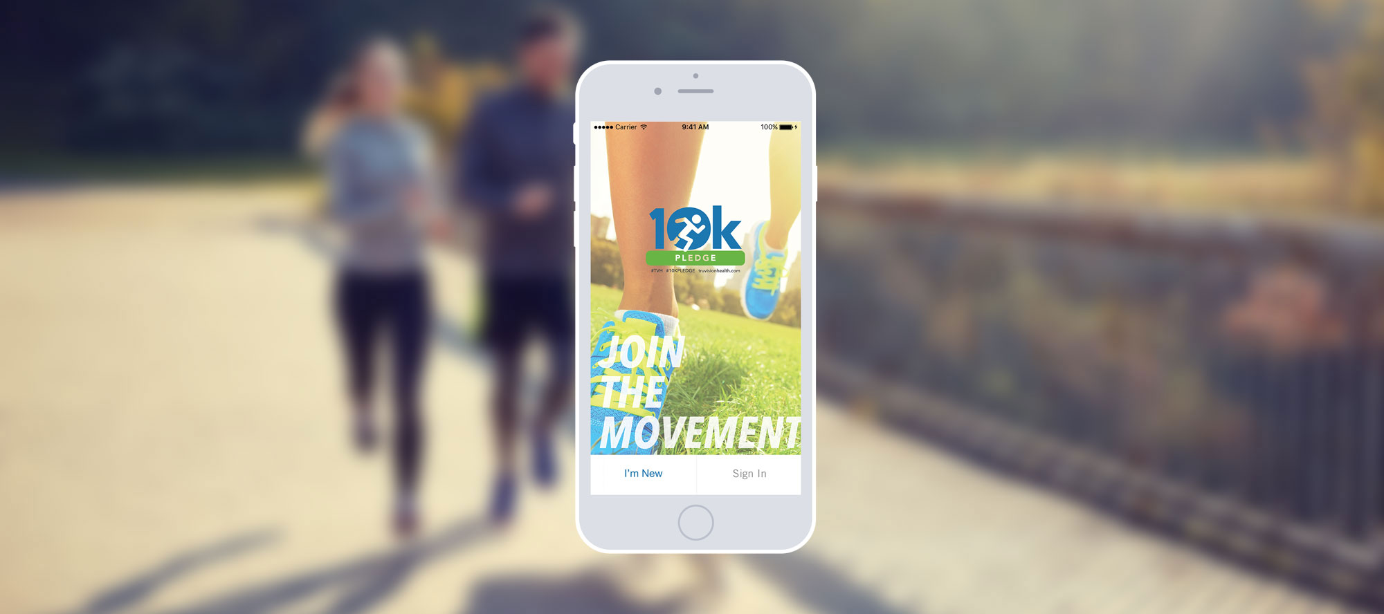 iphone depicting the 10k A Day app with runners running in the background.